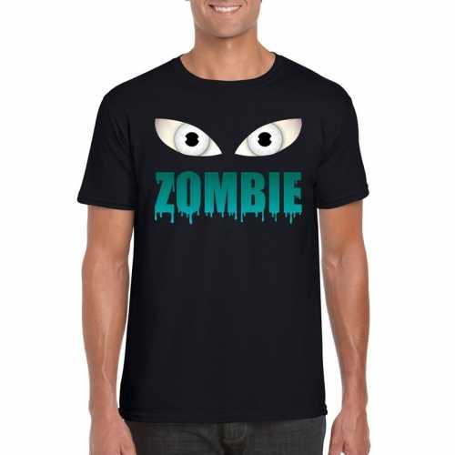 Halloween zombie ogen t shirt zwart heren