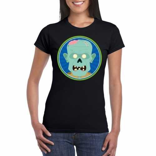 Halloween zombie t shirt zwart dames