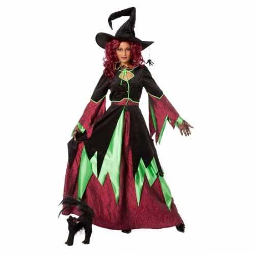 Heksen verkleedkleding rood/groen vrouwen