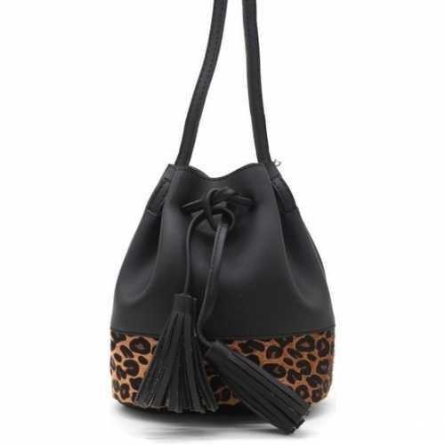 Hip schoudertasje zwart/bruin luipaardprint/panterprint dierenprint 3