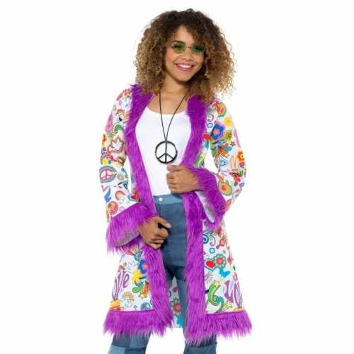Hippie groovy pluche jas dames