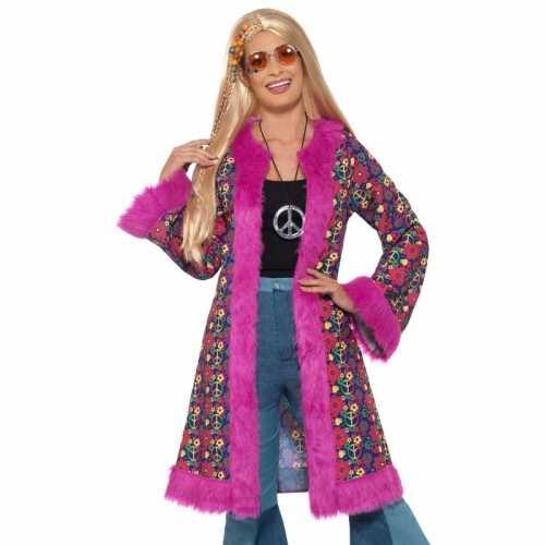 Hippie peace pluche jas dames