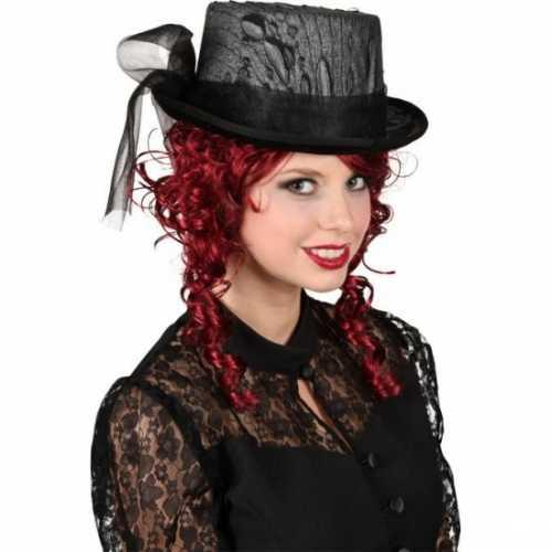 Hoge hoed zwart kant