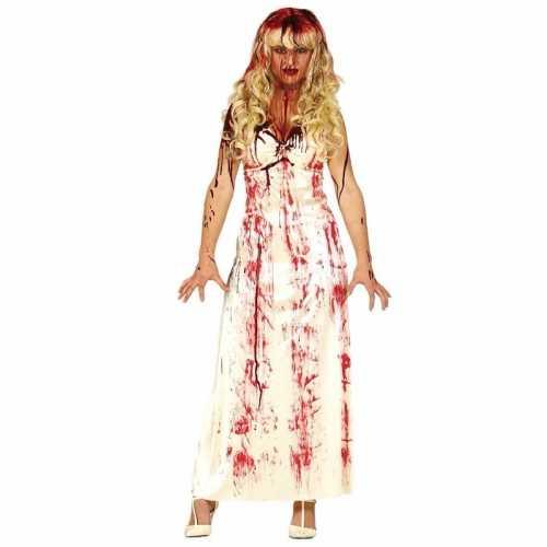 Horrorkleding lange witte jurk bloed