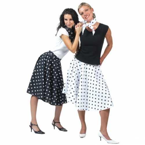 Jaren 50 rok zwart wit