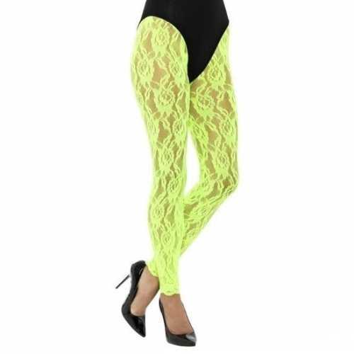 Kanten panty neon groen dames