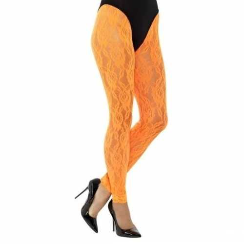 Kanten panty neon oranje dames