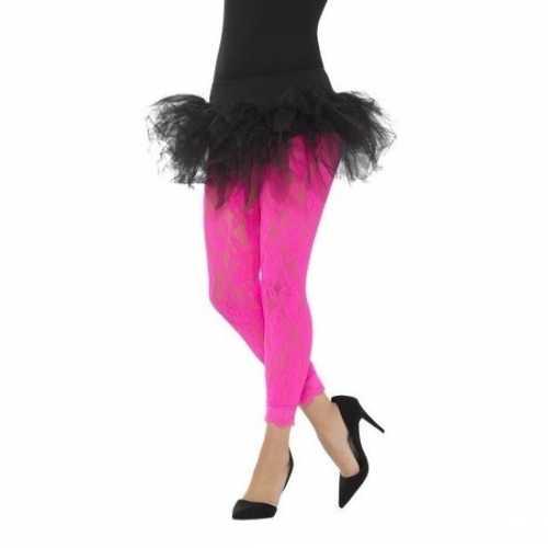 Kanten panty neon roze dames