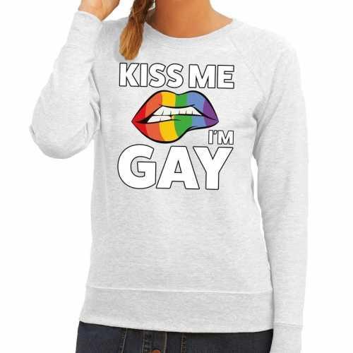 Kiss me i am gay sweater grijs dames