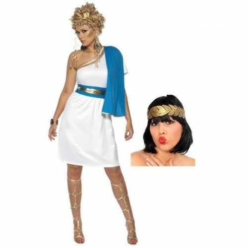 Kort romeinse dames jurkje inclusief hoofdkrans maat s