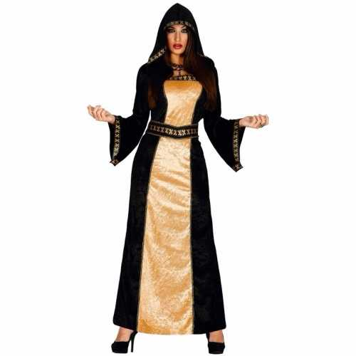 Lange dames halloween verkleedjurk zwart goud