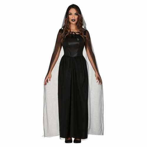 Lange zwarte halloween verkleed jurk cape dames