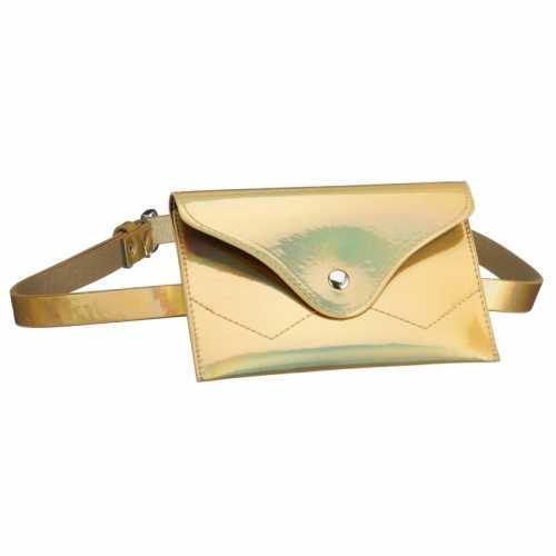 Metallic goud mini buideltasje aan riem dames