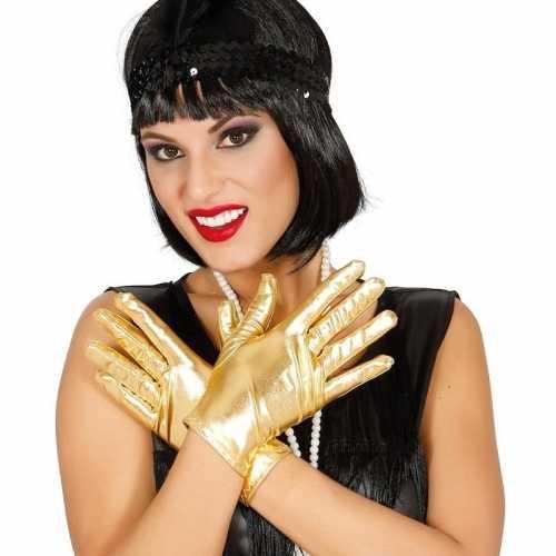 Metallic gouden verkleed handschoenen kort 22