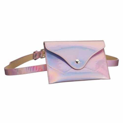 Metallic roze mini buideltasje aan riem dames