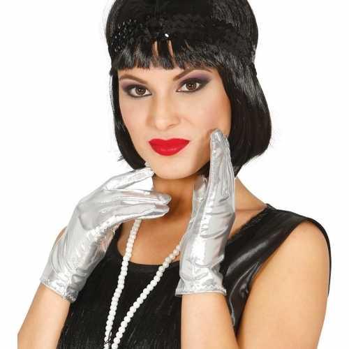 Metallic zilveren verkleed handschoenen kort 22
