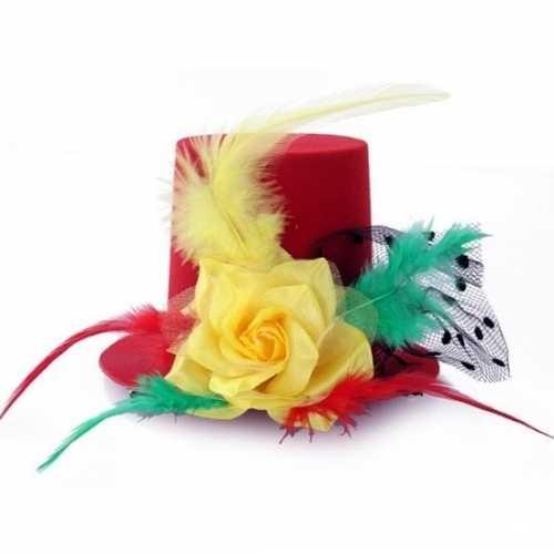 Mini hoedje op clip in carnaval kleuren
