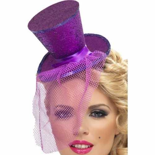 Mini hoedje paars op haarband
