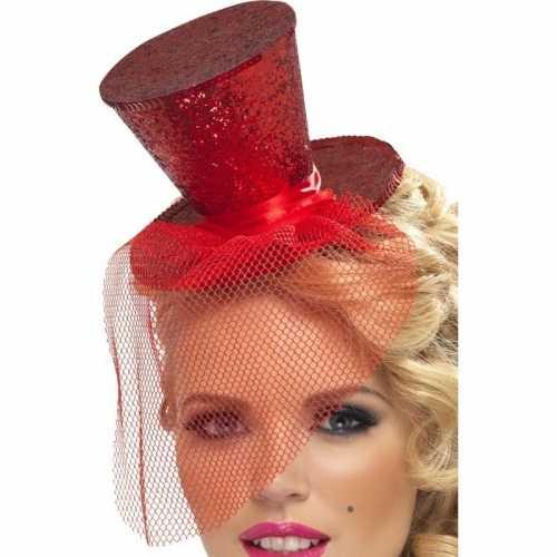 Mini hoedje rood op haarband