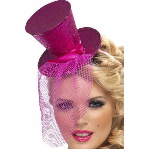 Mini hoge hoed roze op diadeem