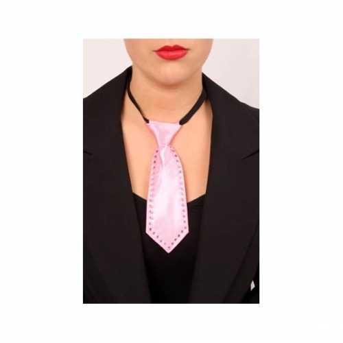 Mini stropdas roze strass stenen