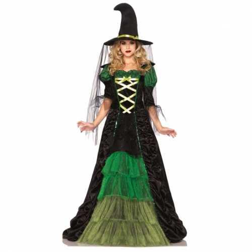 Mooie heksen jurk groen zwart inclusief hoed