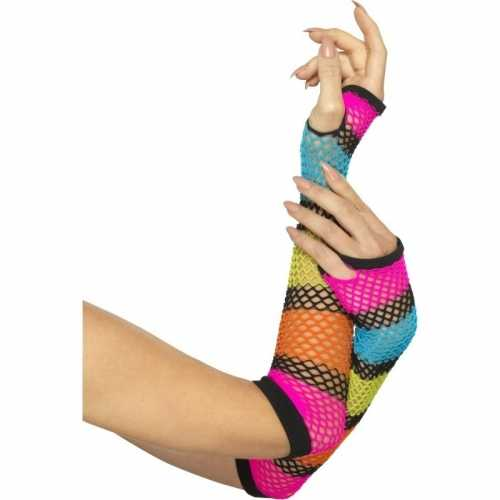 Neon gekleurde visnet handschoenen