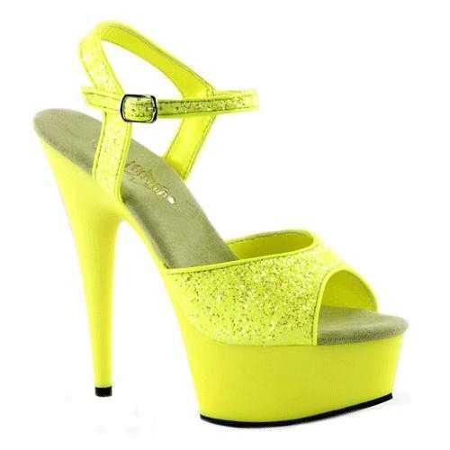 Neon gele glitter sandalen