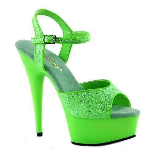 Neon groene glitter sandalen