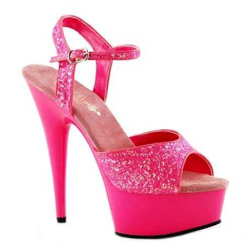 Neon roze glitter sandalen