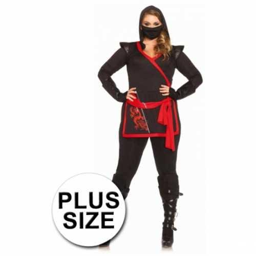 Ninja dames verkleedkleding 4 delig grote maat