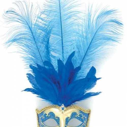 Oog masker blauwe veren