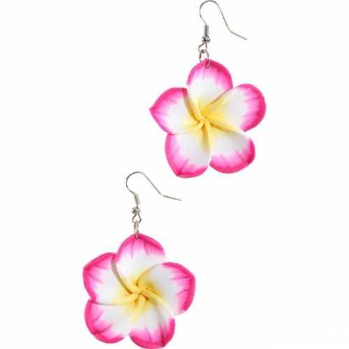 Oorbellen roze tropische bloemen
