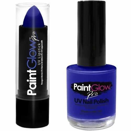 Oplichtende/lichtgevende lipstick nagellak set neon blauw