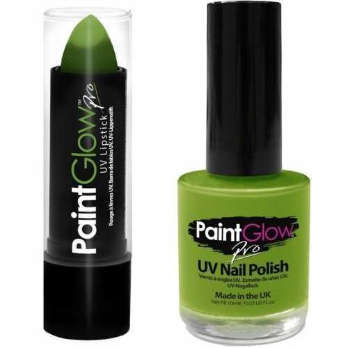 Oplichtende/lichtgevende lipstick nagellak set neon groen