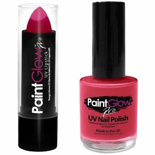 Oplichtende/lichtgevende lipstick nagellak set neonroze