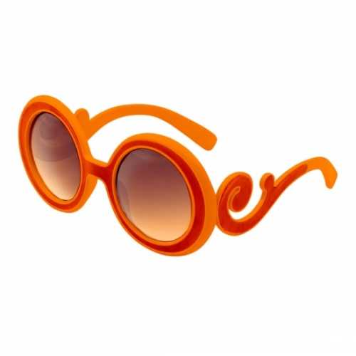 Oranje bril krullend montuur