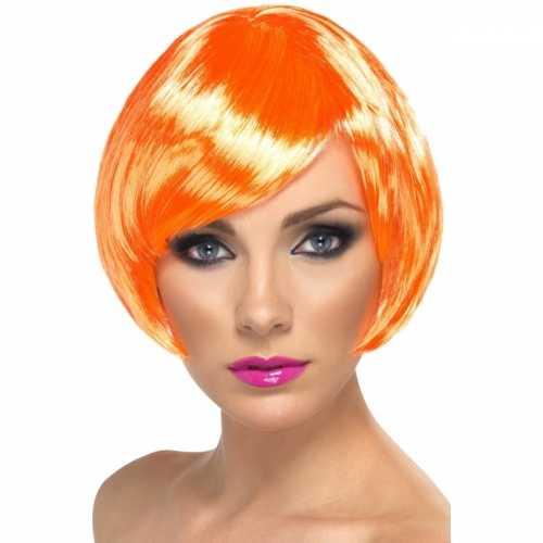 Oranje dames pruik kort