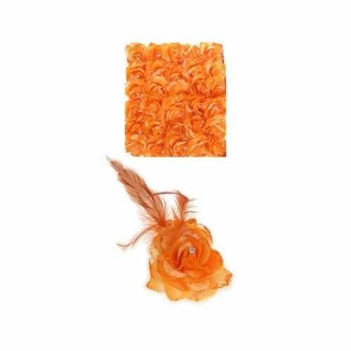 Oranje haarbloem elastiek