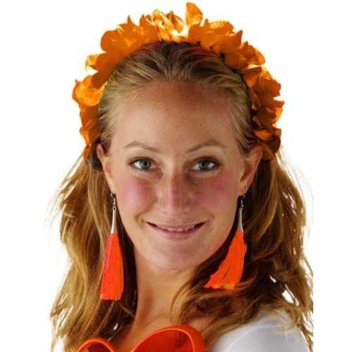 Oranje hawaiikransen/bloemenkransen tiara dames