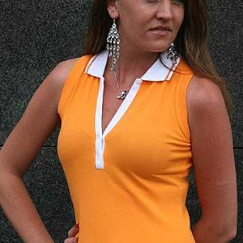 Oranje mouwloos dames shirt