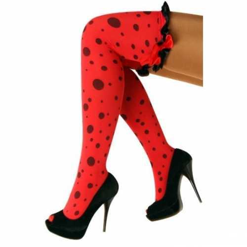 Overknee kousen rood zwart