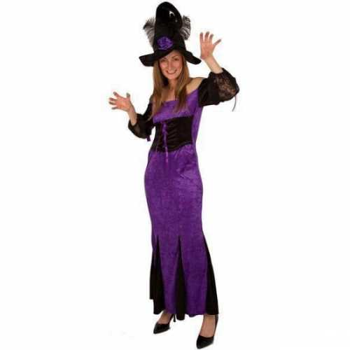 Paarse heksen kleding dames