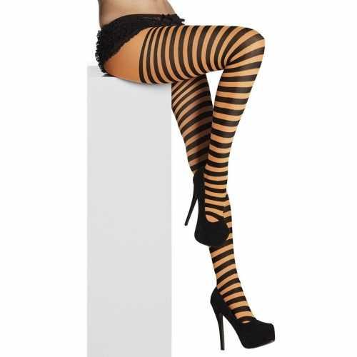 Panty 40 denier zwart oranje strepen dames