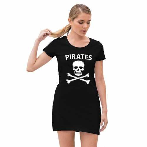 Piraten verkleed jurkje doodshoofd zwart dames