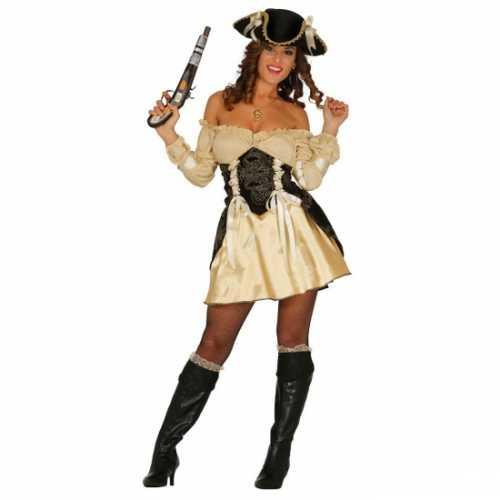 Piraten verkleedkleding dames beige