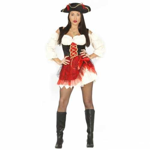Piraten verkleedkleding dames rood