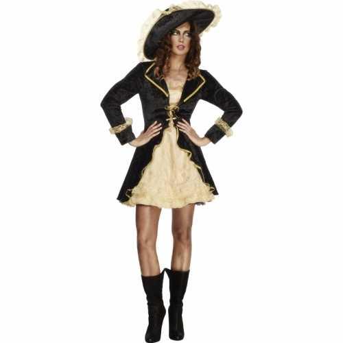 Piraten verkleedkleding jasje zwart/goud