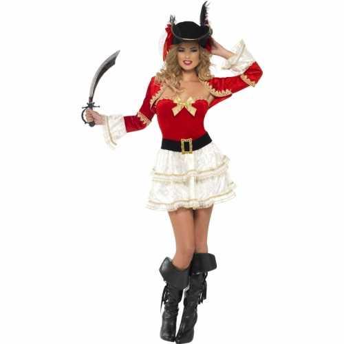 Piraten verkleedkleding rood dames
