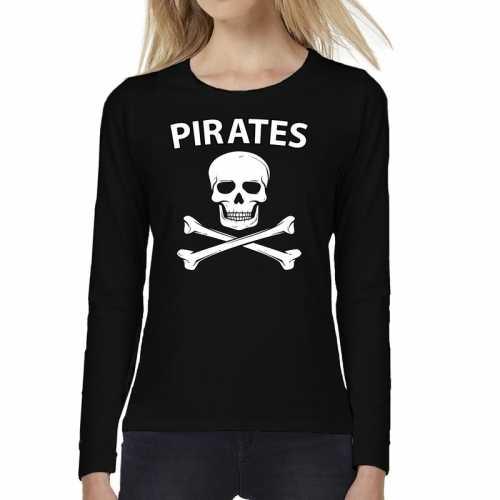 Pirates tekst t-shirt long sleeve zwart dames